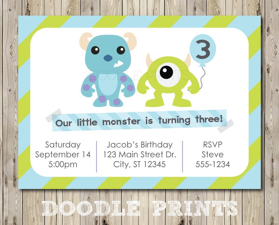 Monsters Inc Invitation - Printable Birthday Party Invitation ...