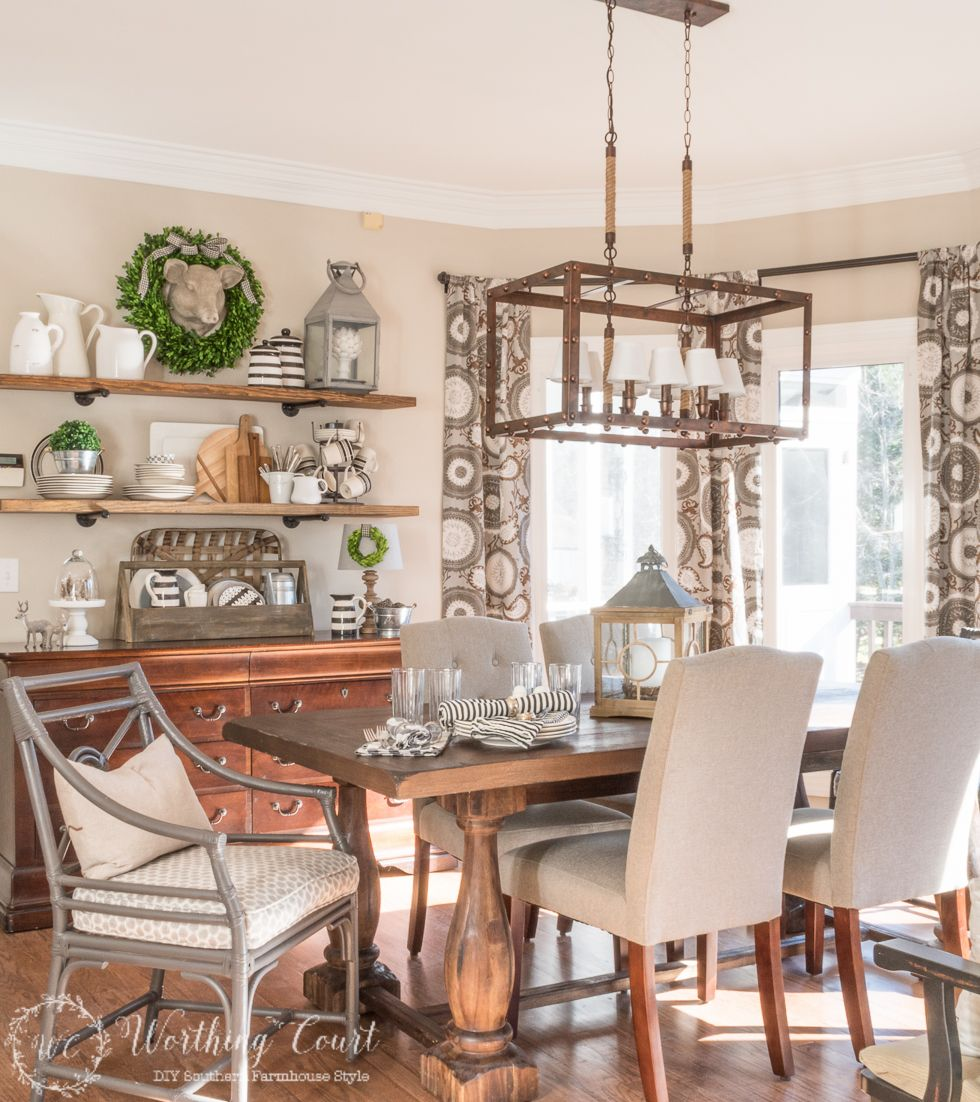 Rustic Farmhouse Breakfast Area Reveal Before And After A New Light Fixture Worthing Court