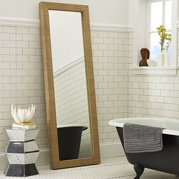 Parsons Floor Mirror - Natural Grass Cloth #WestElm $499. Ours was a ...