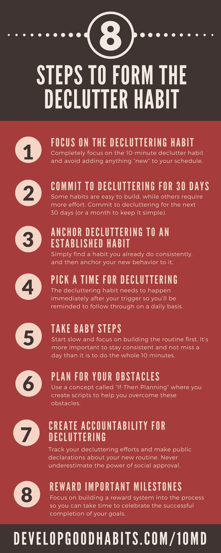 How to Form a Decluttering Habit. ------ Excerpt from 10 Minute Declutter-  Steve Scott and Barrie Davenport.