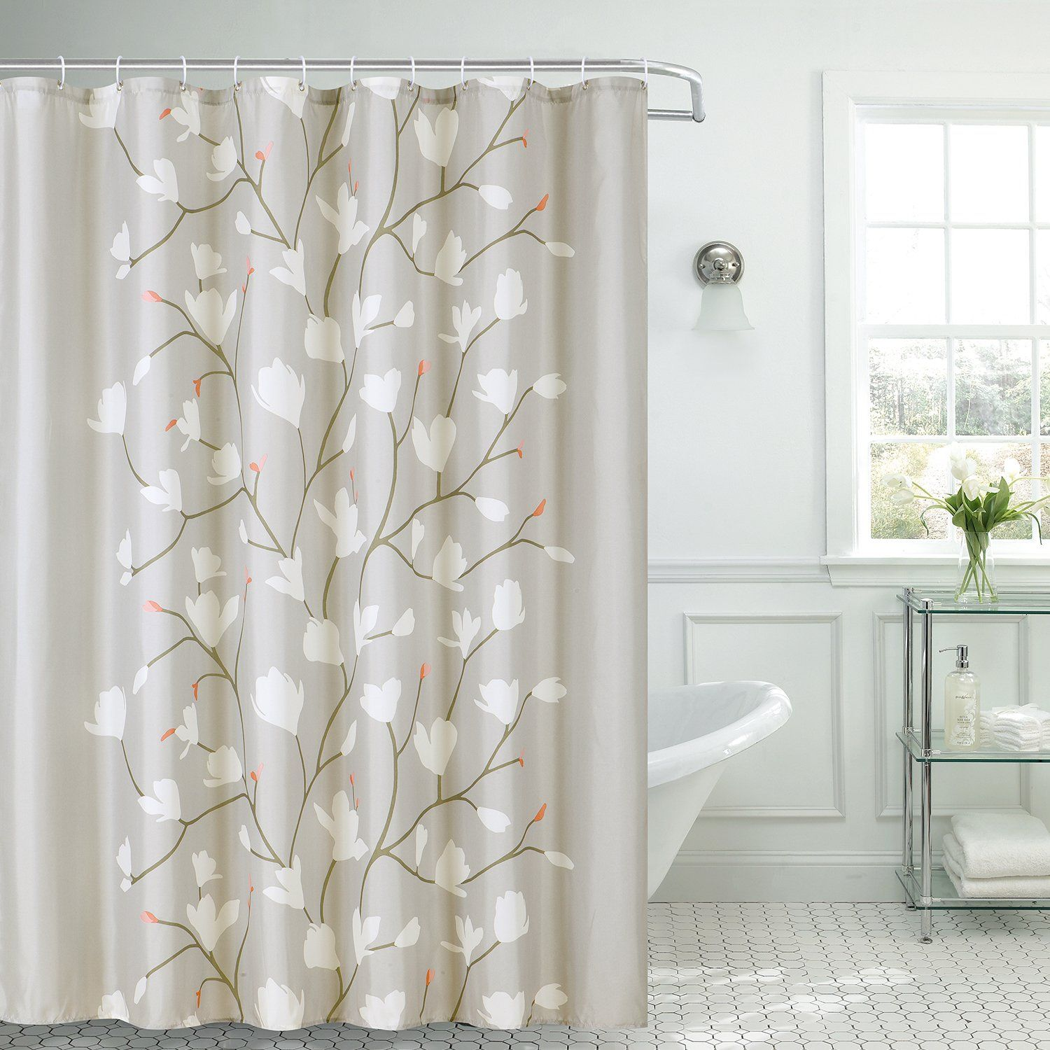 Amazon Com Skymoving Shower Curtain Grey Flowers Fabric With