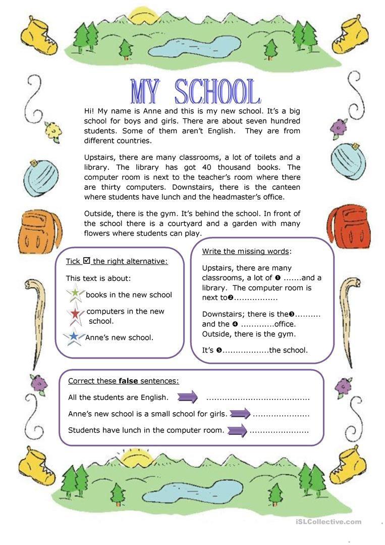 My School Worksheet Free Esl Printable Worksheets Made By Teachers Reading Comprehension Reading Comprehension Lessons Reading Comprehension For Kids [ 1079 x 763 Pixel ]