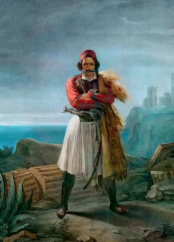 """""""A Klepht"""" by Ludovico Lipparini, 1821 Klephts were highwaymen turned self-appointed armatoloi, anti-Ottoman insurgents, and warlike mountain-folk who lived in the countryside when Greece was a part of the Ottoman Empire. Greek History, Ancient History, Ancient Greek Costumes, Greek Independence, Greek Traditional Dress, Albanian Culture, Greek Men, Greek Warrior, Guache"""