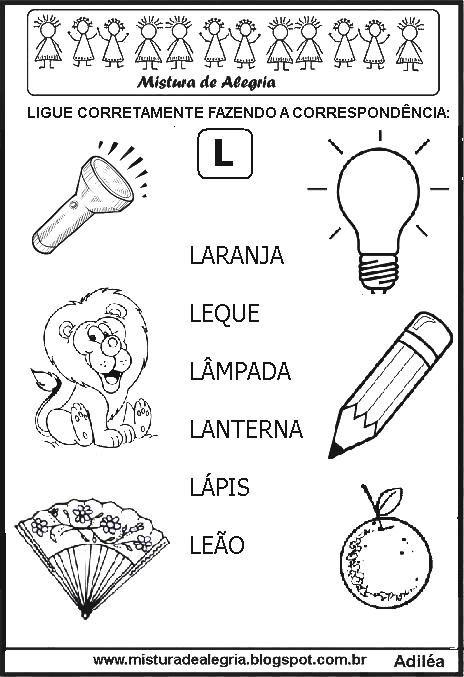 sequ c3 aancia atividades correspond c3 aancias desenhos letra l