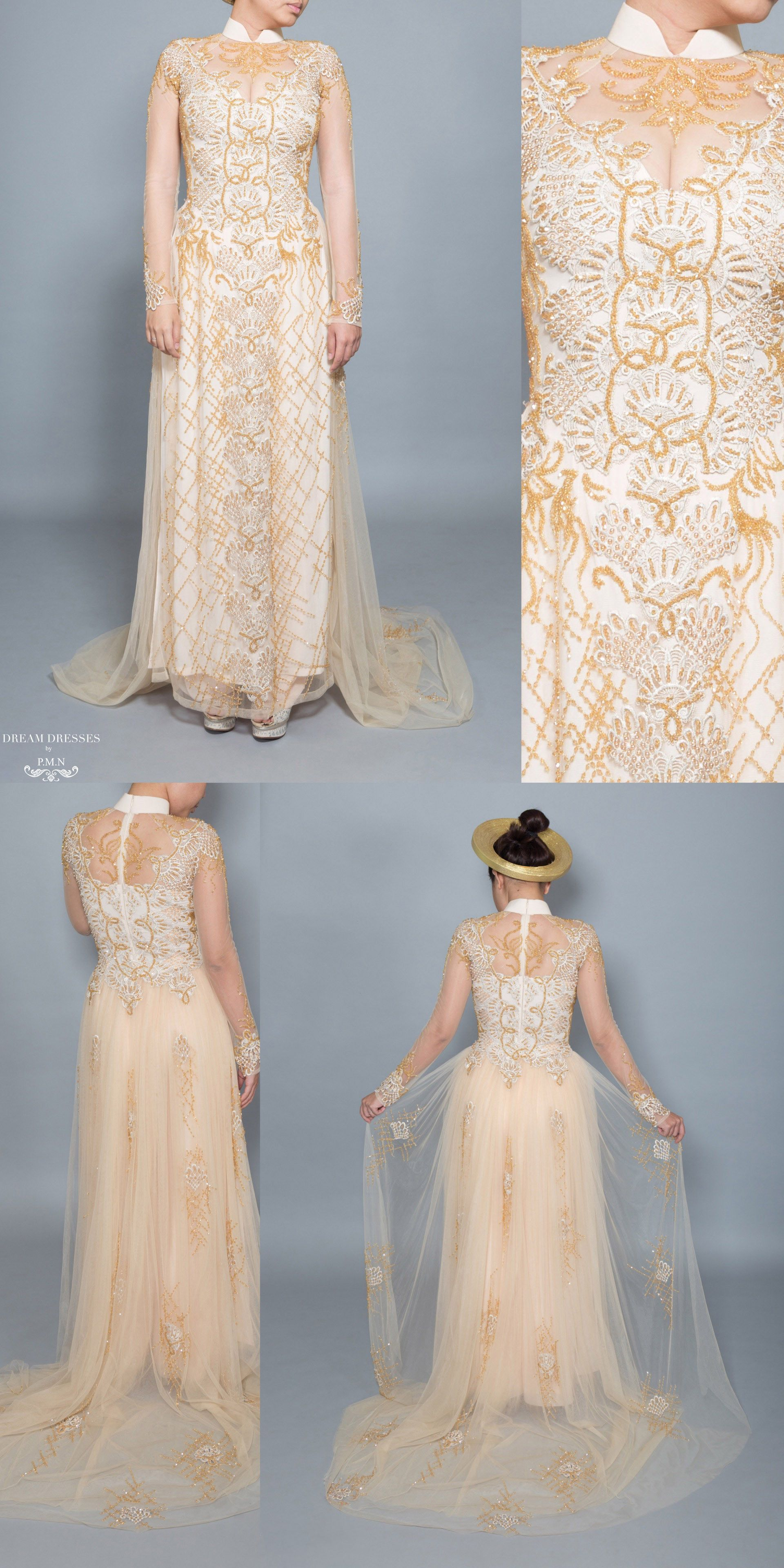 Gold Ao Dai | Vietnamese Bridal Dress with Embellishment (#HELGA ...