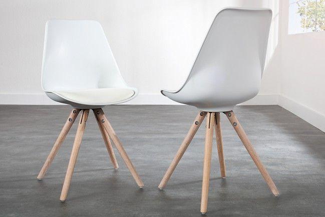 Designklassiker Stuhl MODERN ART II Weiß mit Stuhlbeinen