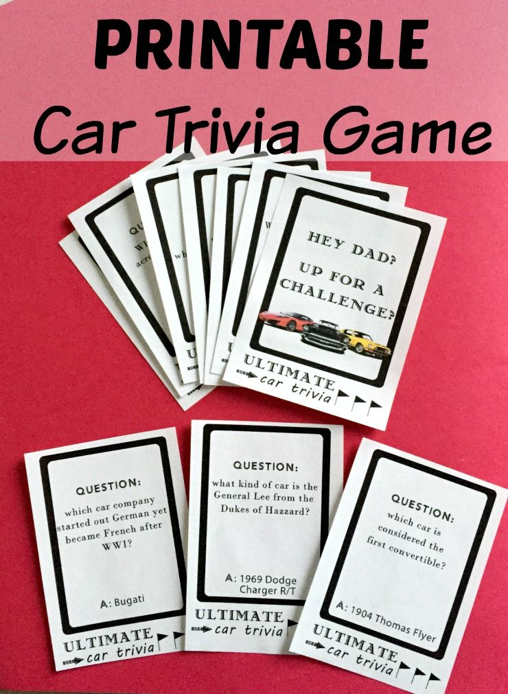 Printable DIY Car Trivia Game. Perfect Gift For The Car