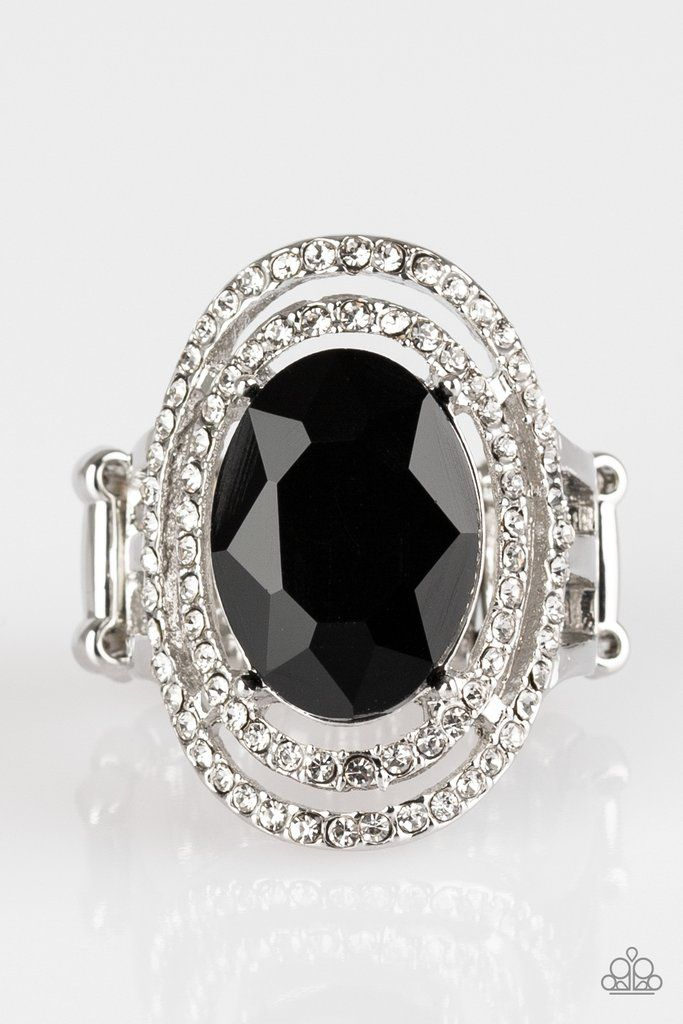 Paparazzi Making History 2018 Fall Collection Black Gem White Rhinestone Silver Frame Ring Black Gems Black Rings White Rhinestone