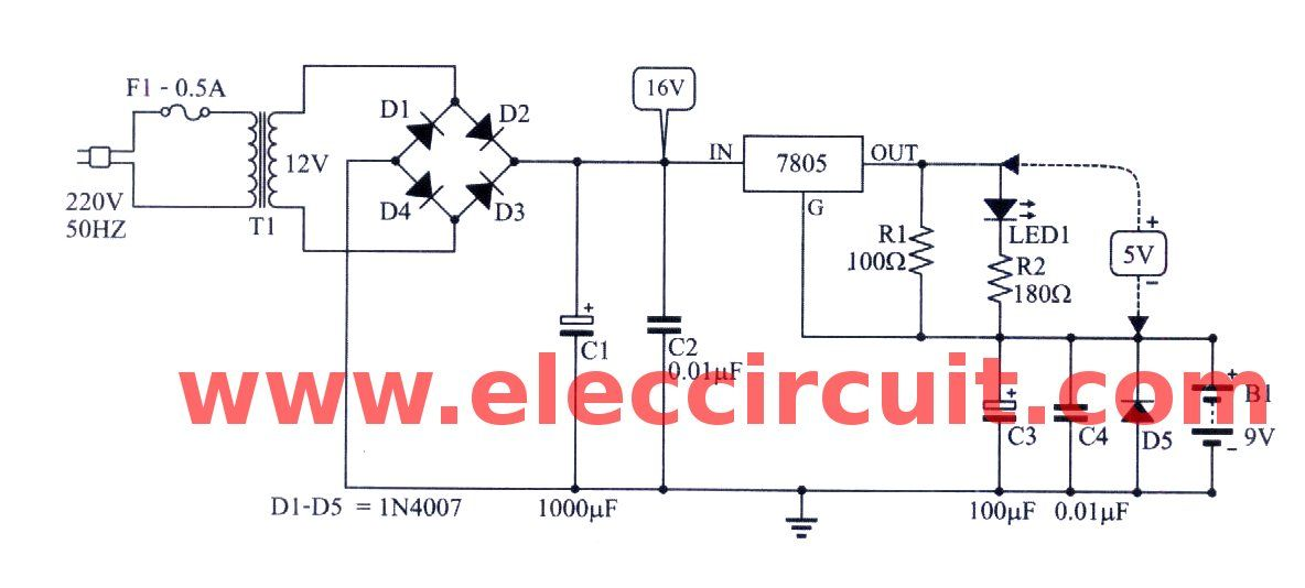 7805 Constant Current Circuit For Battery Charger Eleccircuit Battery Charger Battery Charger Circuit Constant Current