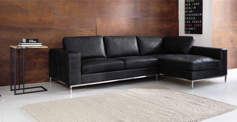 canap d 39 angle vintage 4 places jack en cuir noir en 2019. Black Bedroom Furniture Sets. Home Design Ideas
