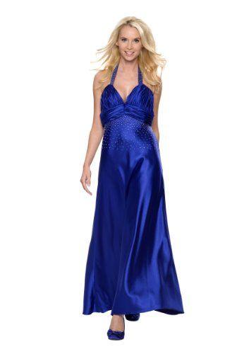Funkelndes Neckholder Abendkleid, Gr.44, Farbe blau
