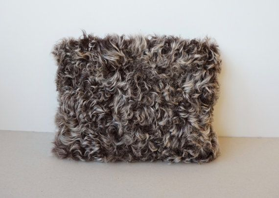 Square Fur Clutch Bag / Shearling Lamb Fur Bag / Light by Imunde
