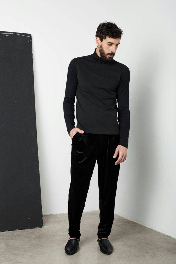 644c40a930cf Mens black slim fit turtleneck sweater has a slim fit silhouette through  the body, crafted in a high quality Jersey cotton and Rin fabrics, ...