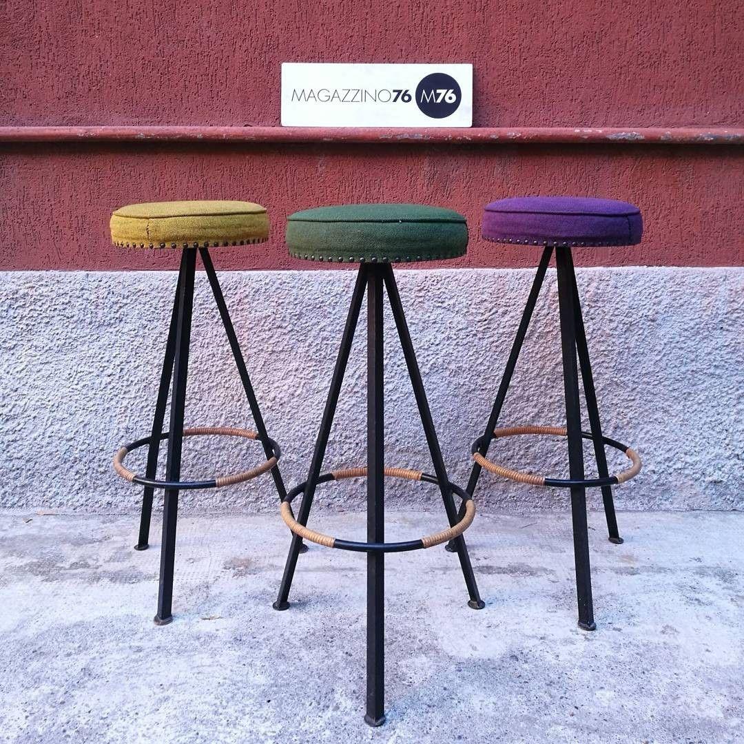 Sgabelli Bar Milano.Set Di 3 Sgabelli Da Bar Anni 60 Con Tessuto Colorato