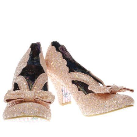 womens irregular choice peach final bow glitter low heels £75 Schuh