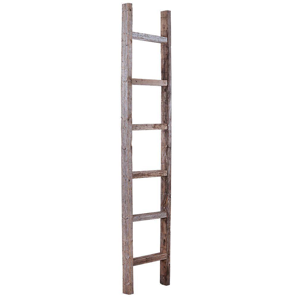 6 ft Rustic Reclaimed Barn Wood Decorative Ladder - Barnwood USA - 6 Ft Rustic Reclaimed Barn Wood Decorative Ladder - Barnwood USA