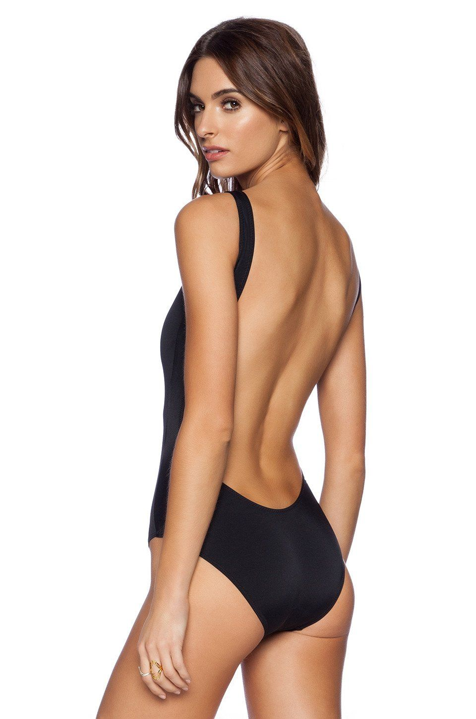 8475a26ae5fa4 NWT NORMA KAMALI black XS 0 2 super low backless swimsuit sexy black tank  1PC