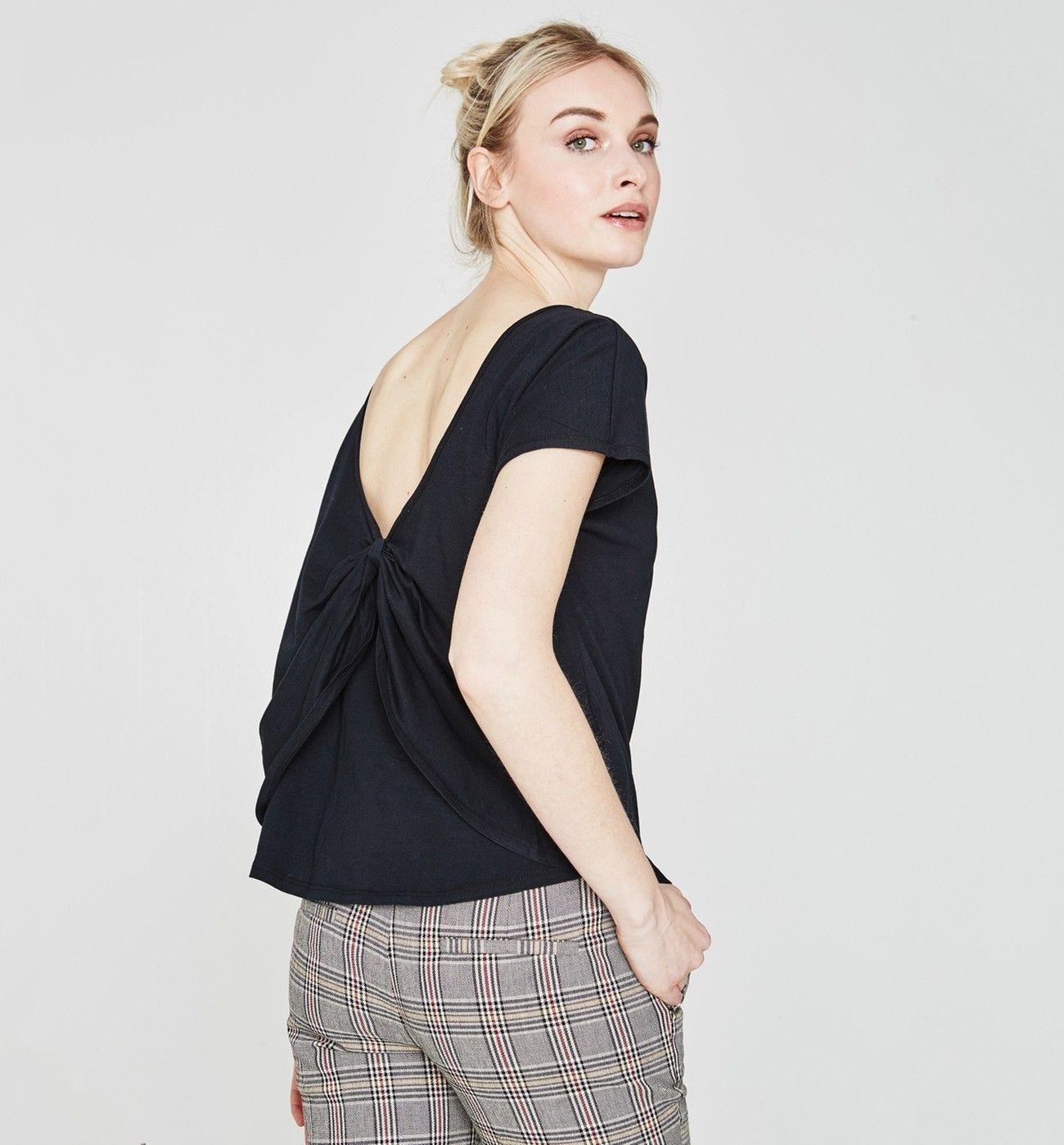 e8ae4fdbbb T-shirt noué dos Femme - Noir - Tops / T-shirts - Femme - Promod ...