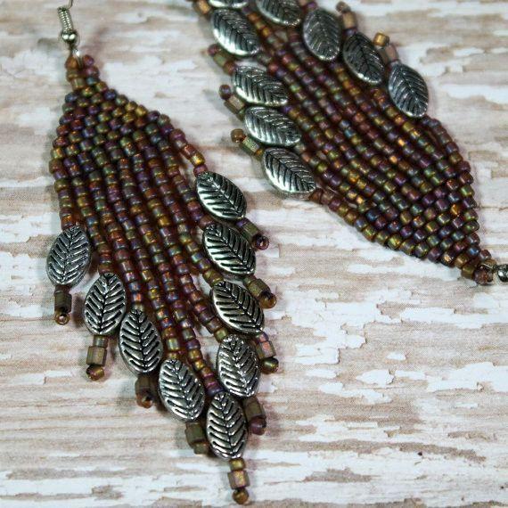 Boho Chic Falling Leaves, Long Beaded Dangle Earrings