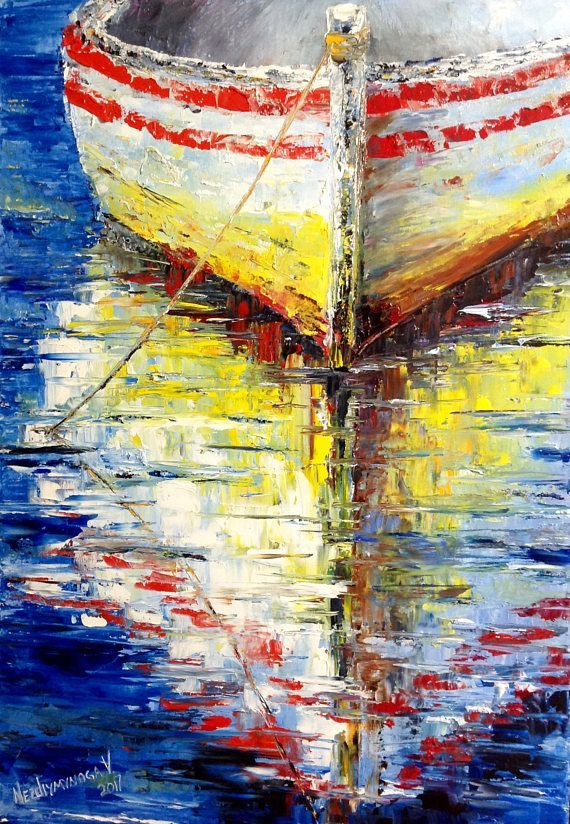 Boat Oil Painting Seascape Ocean Painting Boat Painting Wall Art ...