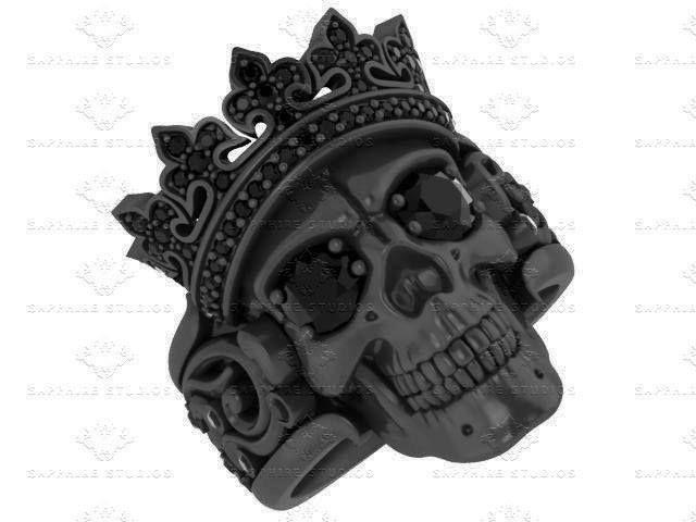 'Castiel Noir' Mens Black Sterling Silver Skull Ring by Sapphire Studios  The Collection ---> http://bit.ly/castiel-noir