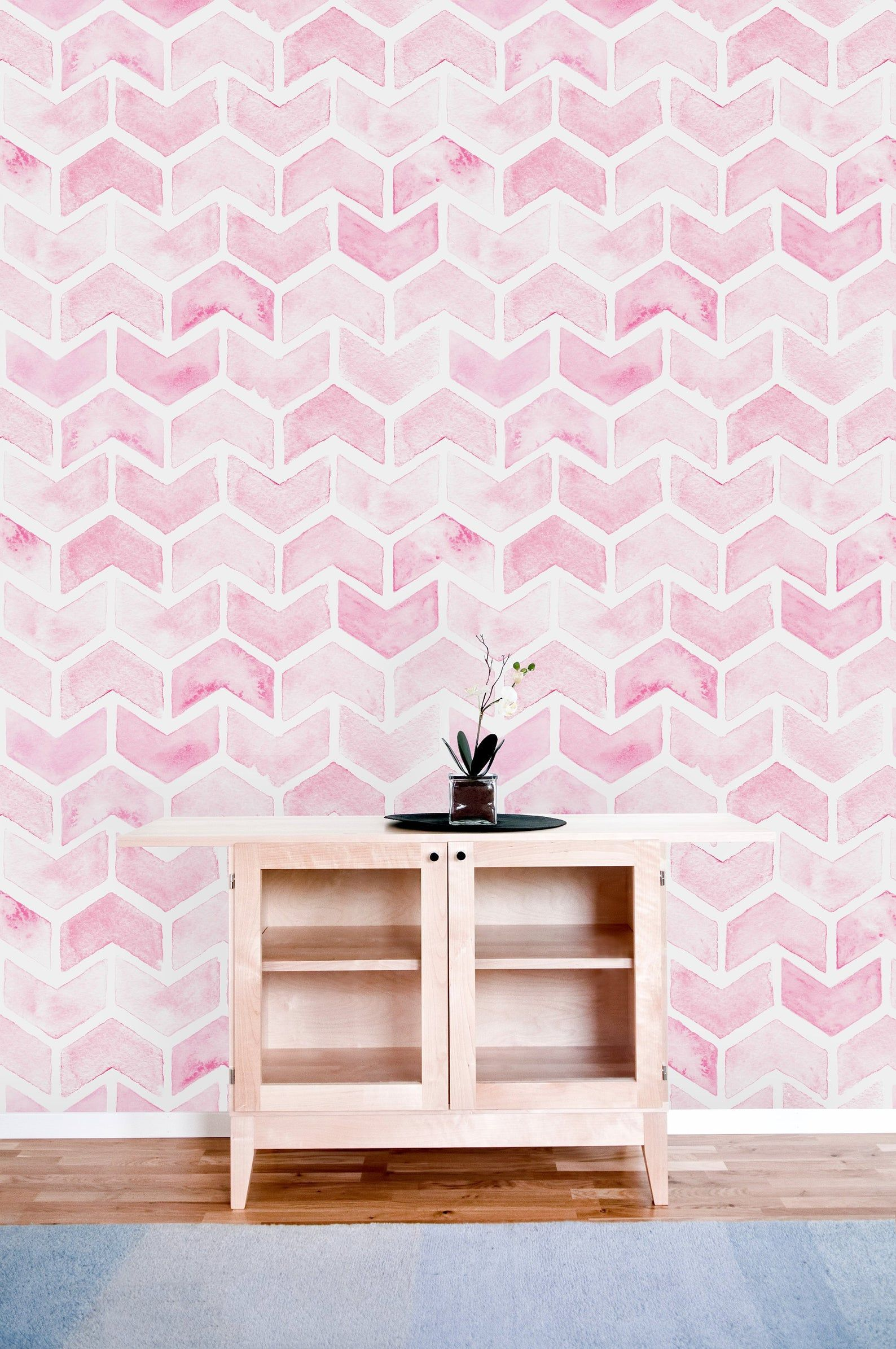 Pink Chevron Removable Wallpaper Peel And Stick Wallpaper Wall Etsy Peel And Stick Wallpaper Pink Chevron Wallpaper Wall Wallpaper