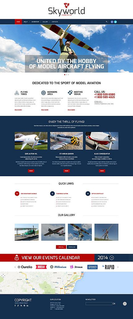 Template 52287 - Model Flying Club Responsive Website Template ...
