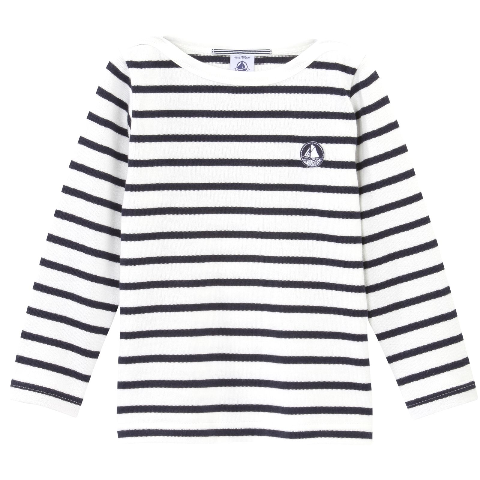 3d83d42442 Striped T-shirt made of heavy cotton. Contrast sailor's neckline. Pin- striped braid inside the collar. Petit Bateau 1920 badge on the chest.