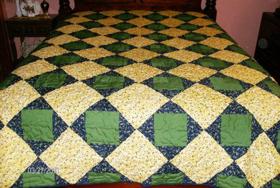 Art Square Pattern Patchwork Queen Quilt SOLD