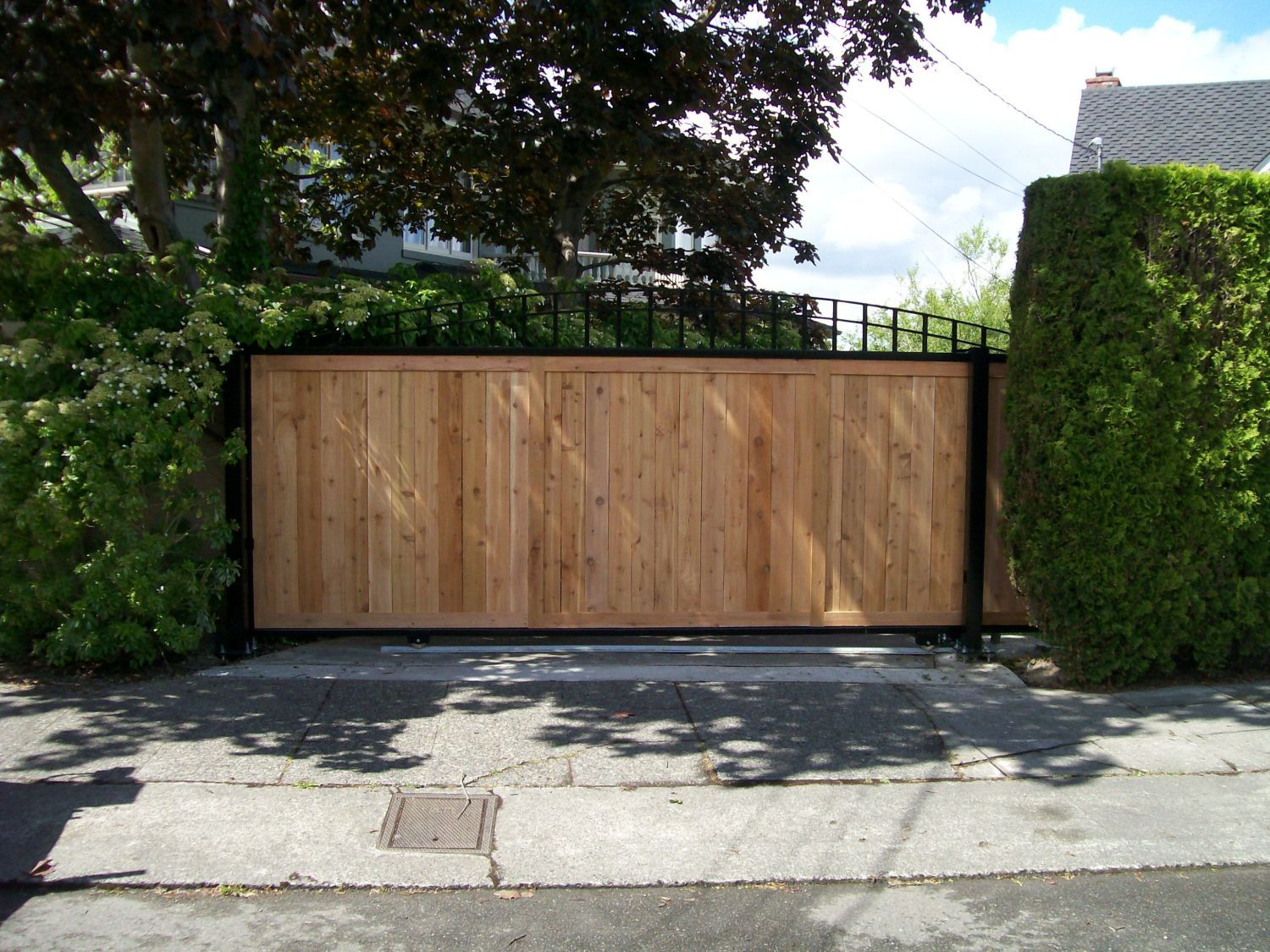 Sliding Wood Privacy Gate With Wood Applique Security Driveway