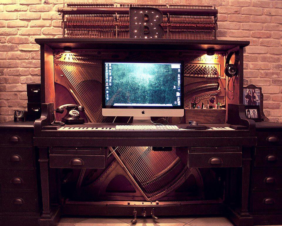 Piano Meets Keyboard: An Old Piano Transformed Into a Desk - Piano Meets Keyboard: An Old Piano Transformed Into A Desk Piano