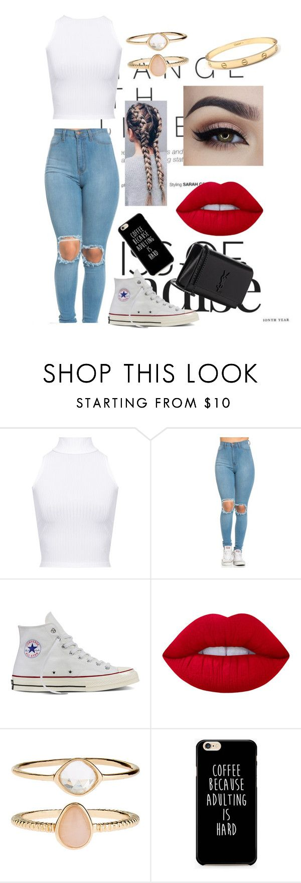 """Untitled #10"" by daisyloo1997 ❤ liked on Polyvore featuring WearAll, Converse, Lime Crime, Accessorize and Yves Saint Laurent"