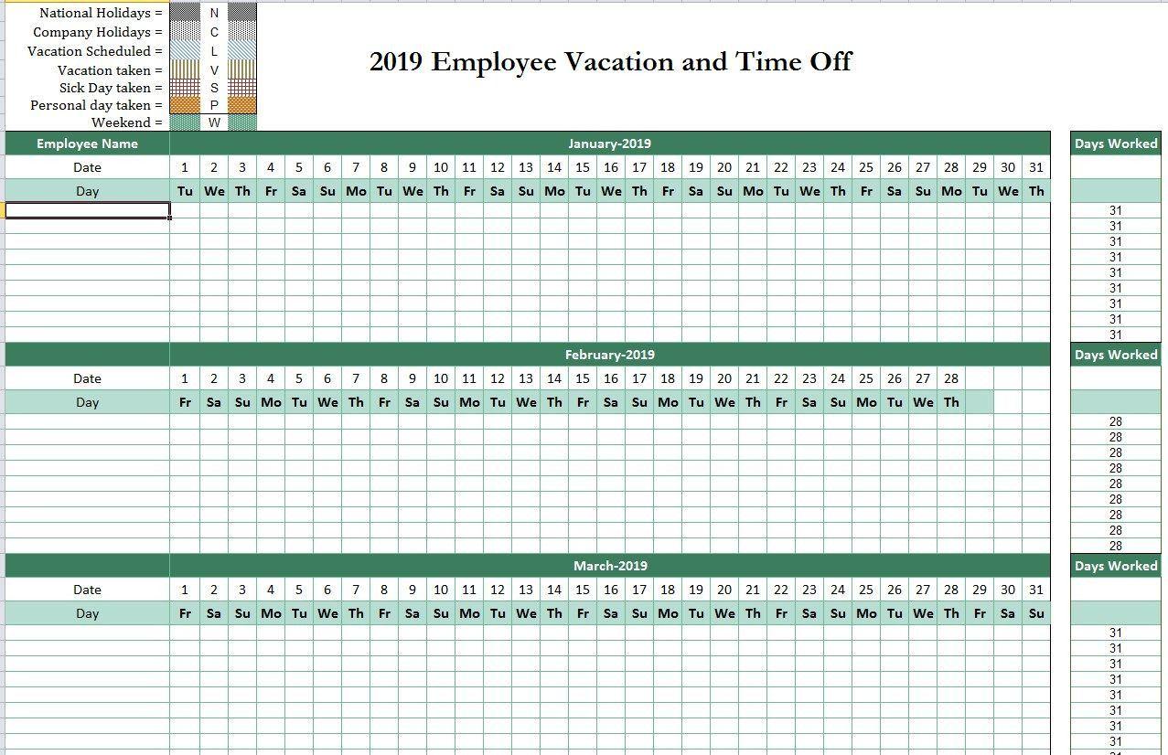 2019 Employee Attendance Tracking Calendar From Employee