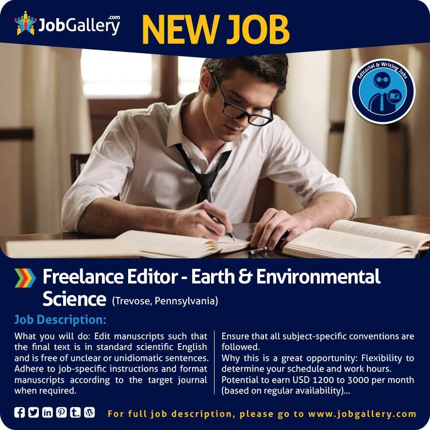 SEEKING FREELANCE EDITOR - EARTH AND ENVIRONMENTAL SCIENCE - TREVOSE - photo editor job description