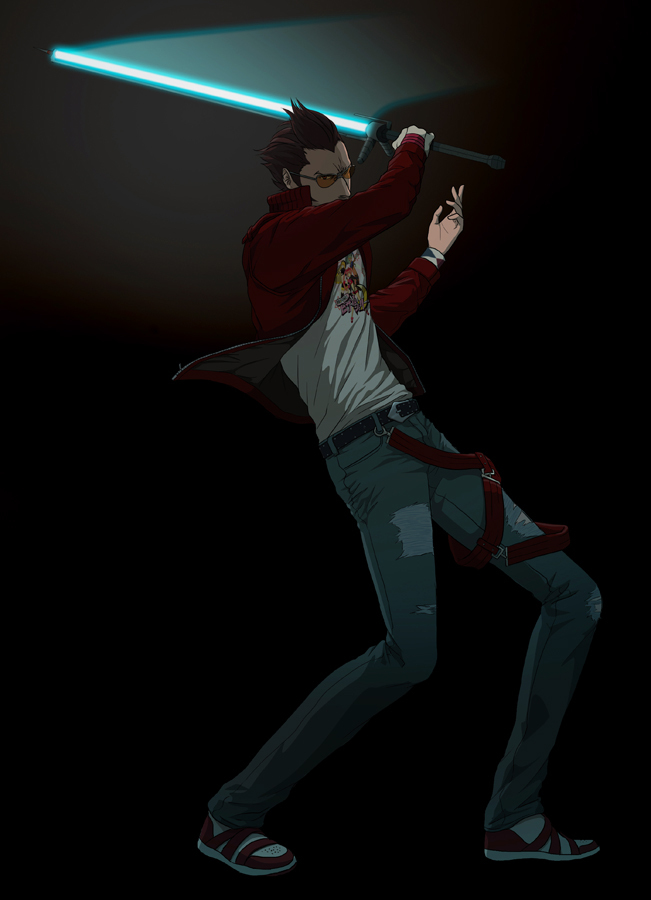 Safebooru Energy Sword Genmaipudding Lightsaber Male No More Heroes Solo Sunglasses Sword Travis Touchdown Weapon 470873 Hero Manga Pictures Energy Sword