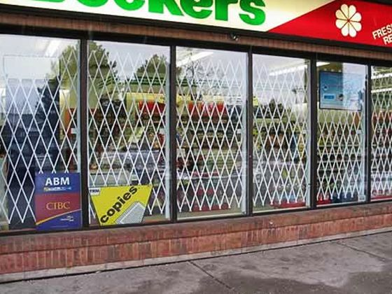 Folding gate for Grocery store door and window Security -  Glassessential.com http://www.glassessential.com/security-scissor-f… |  Window bars, Gate, Window security