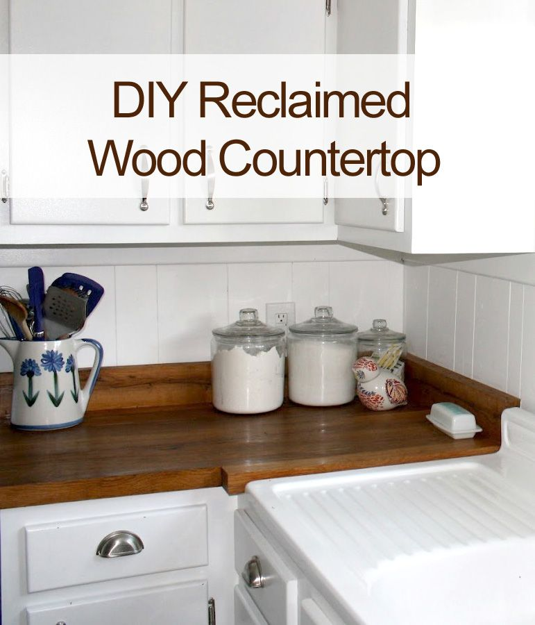 Country kitchen with diy reclaimed wood countertop diy for Using reclaimed wood