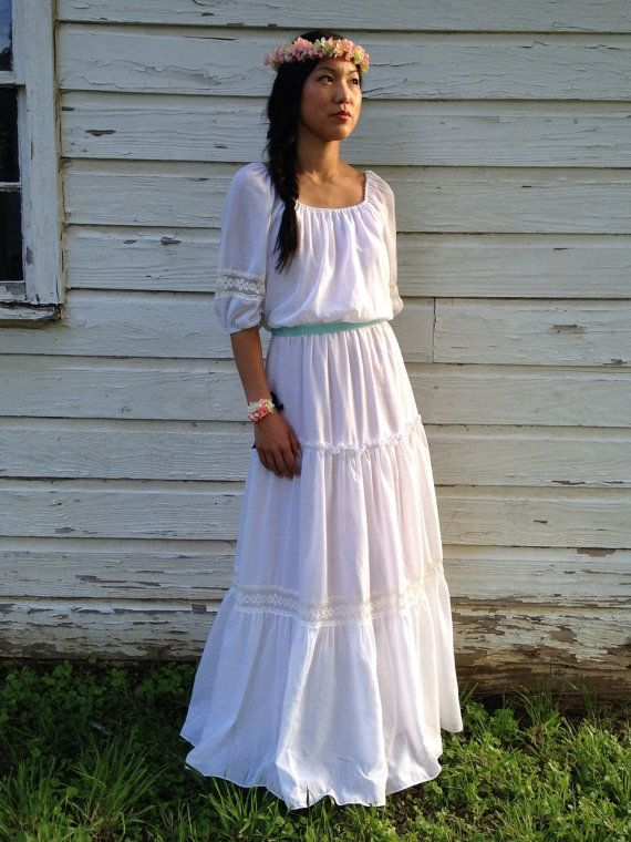 Vintage Gypsy Style Wedding Dress // 1970s Maxi Dress // Bohemian ...