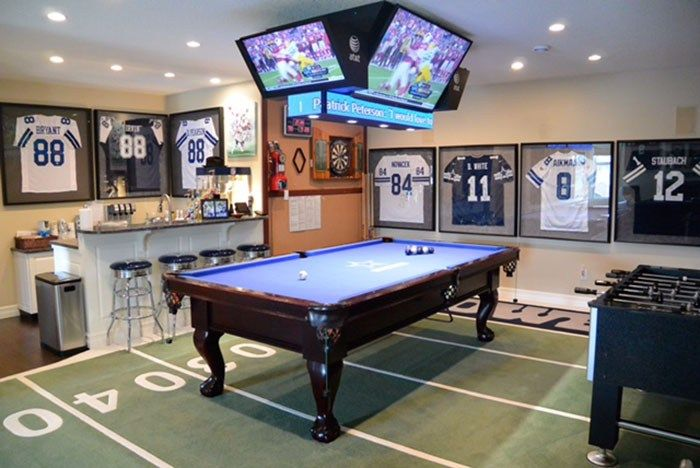 The Ultimate Game Room Dallas Cowboys Style Man Cave Home Bar Man Cave Games Game Room Design
