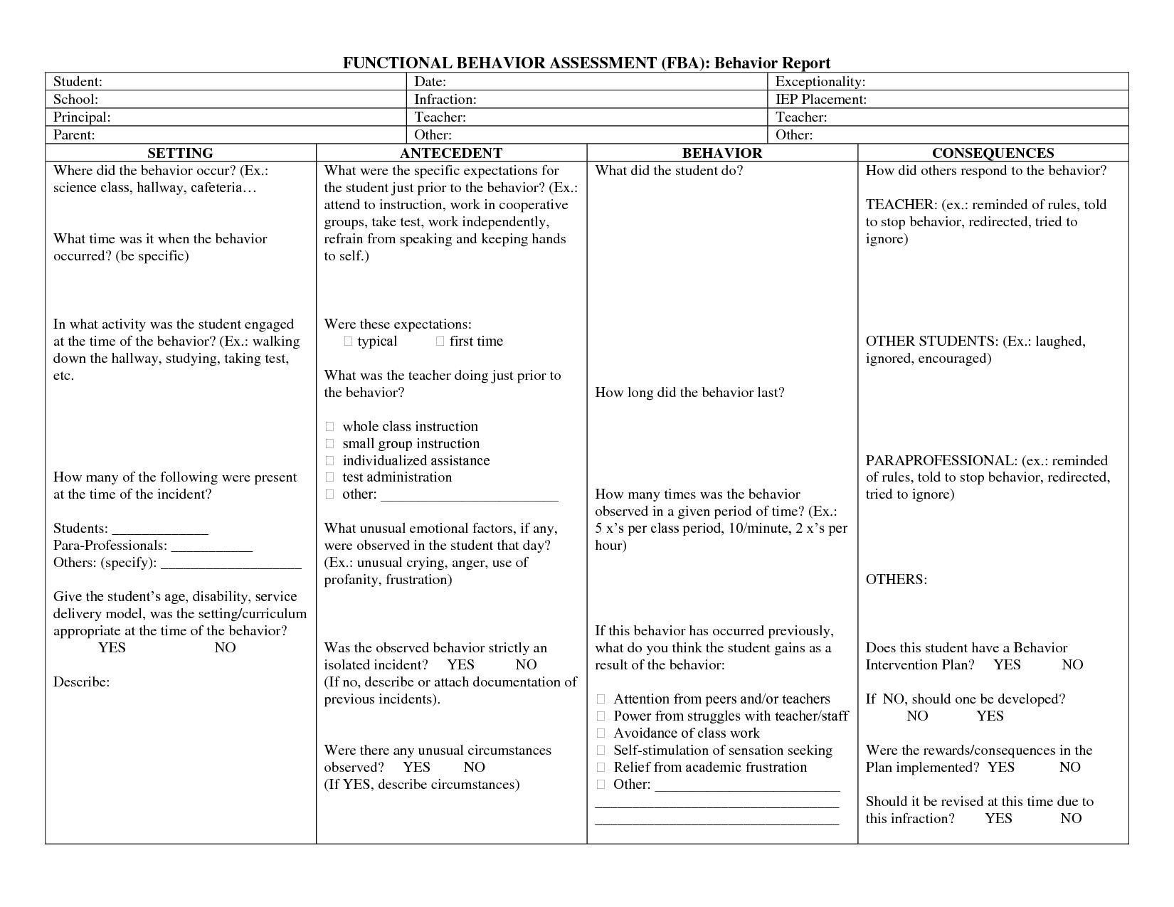 Functional Behavioralysis Worksheet