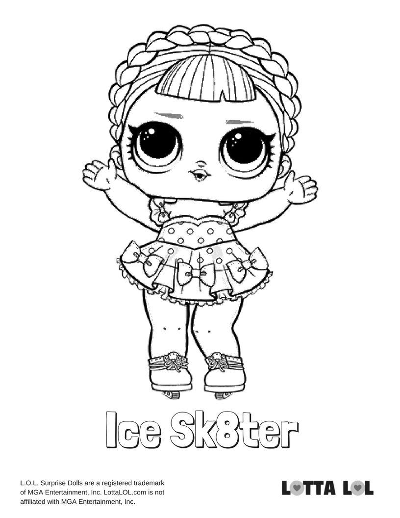 Ice Sk8ter Coloring Page Lotta Lol Unicorn Coloring Pages