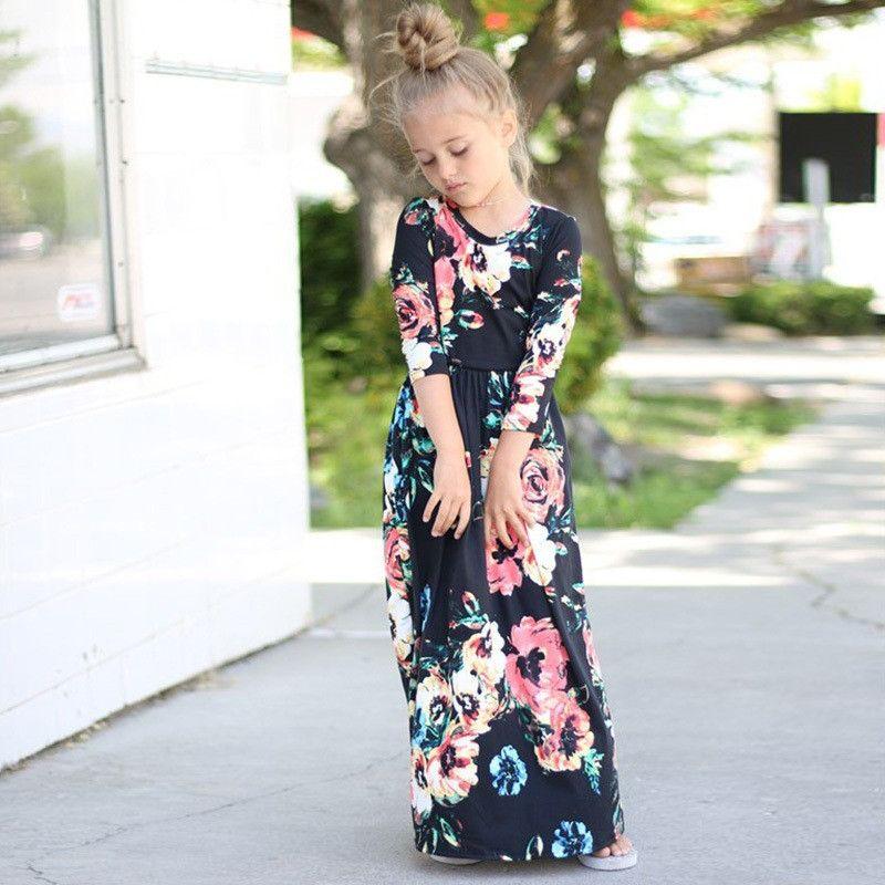 d1ac8224a 2018 Girls Dresses Autumn Cute Baby Girls Hit Color Long Dress ...