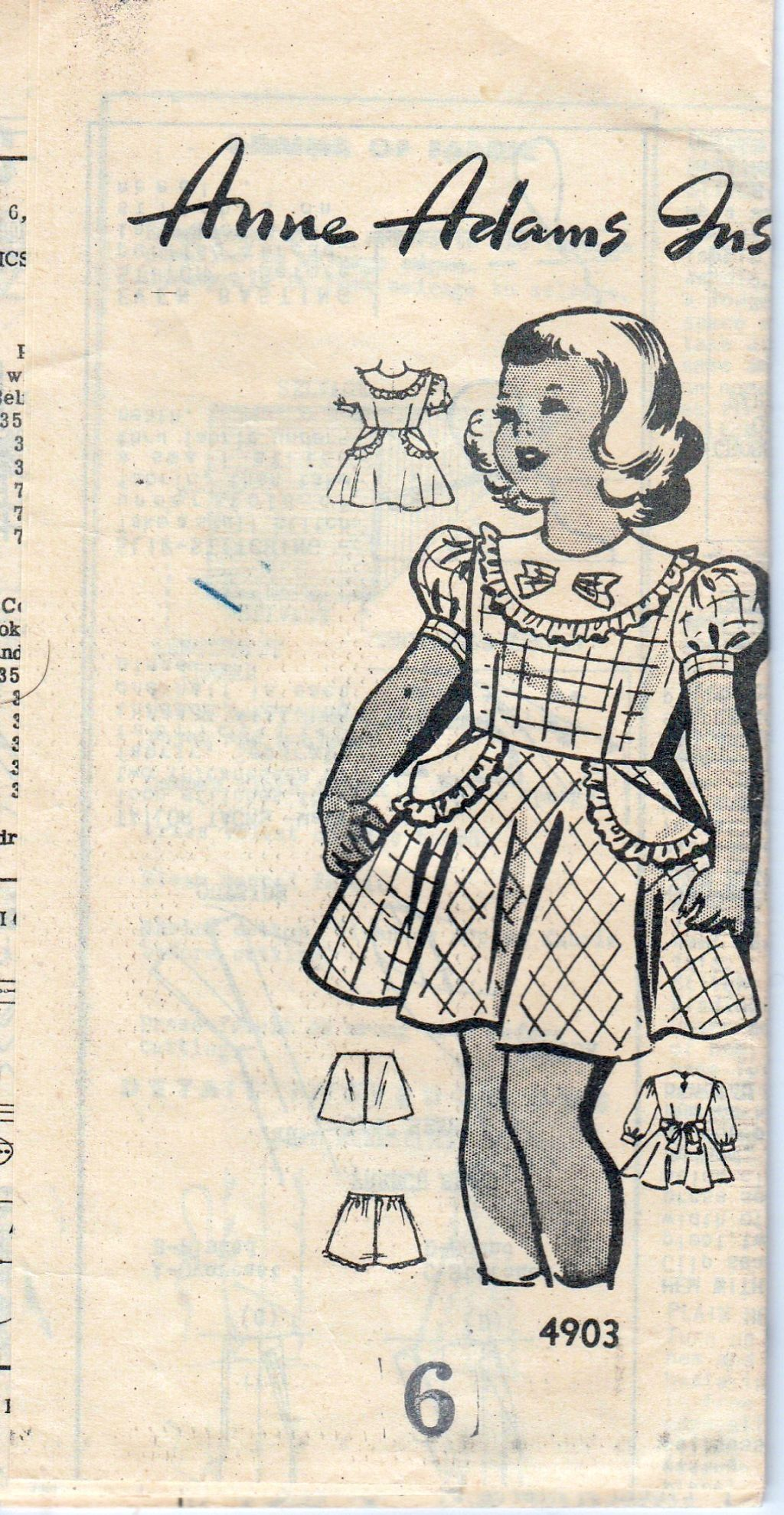 Mail Order 4903 Anne Adams Vintage 1940\'s Sewing Pattern Girls Dress ...