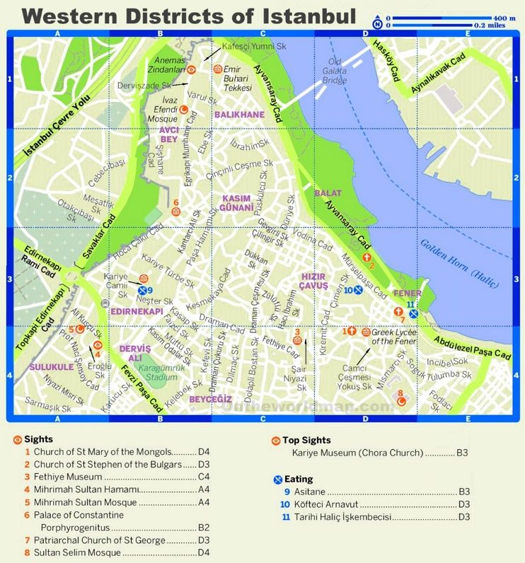 Istanbul Western District tourist map Maps Pinterest Tourist