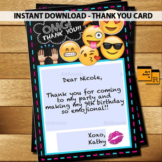 EMOJI Thank You Cards 4x6 Emoji Party Printables Birthday Notes Editable I