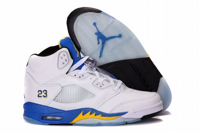 nike air jordan 5 blue white yellow