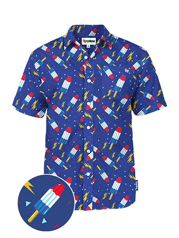d26f4ea3 Men's Clothing, Shirts, Casual Button-Down Shirts, Men's Patriotic Bomb Pop USA  Hawaiian Shirt - Red White and Blue American Flag Button Down Shirt ...