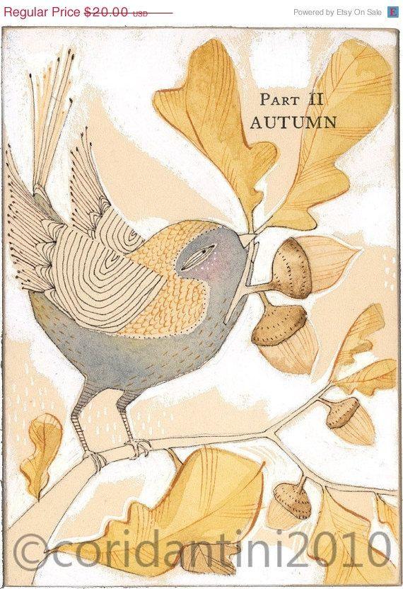 25% OFF bird with acorn folk painting  autumn by corid on Etsy