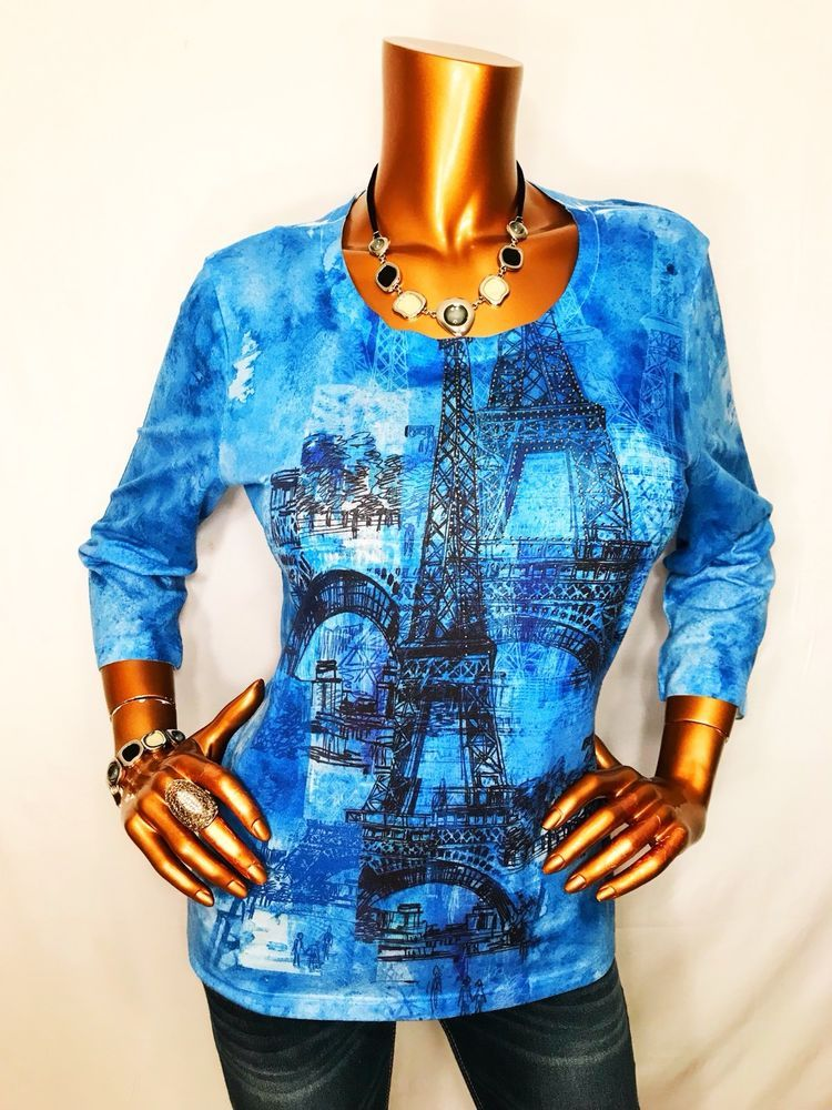 Chico S 1 Or S M Top Blouse 3 4 Slv Shiny Beads Paris Eiffel Tower