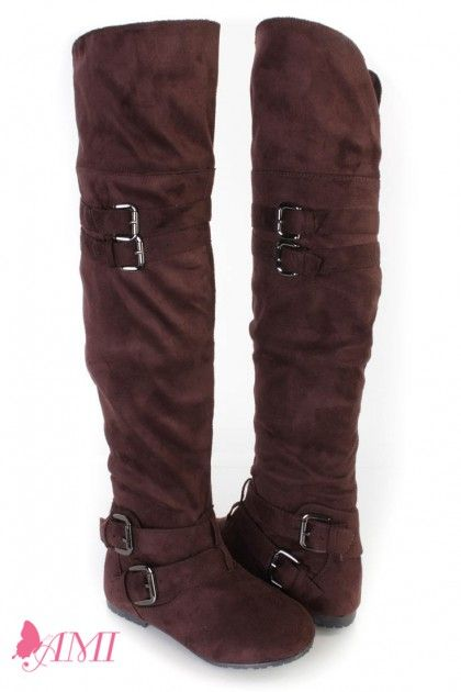 Brown Buckle Accents Thigh High Flat Boots Faux Suede